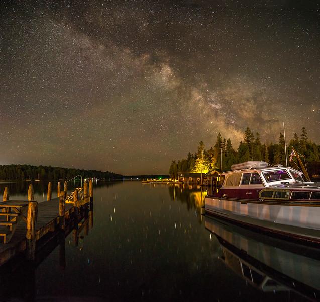 Antique Wooden Cruiser under the Milky Way