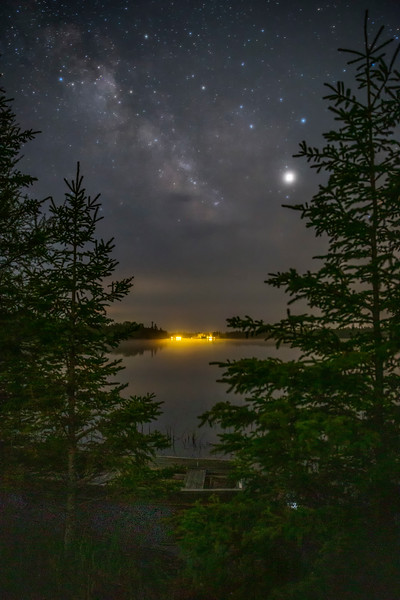The Milky Way and Jupiter over Cedar Campus on Prentiss Bay