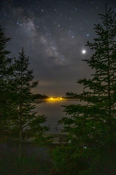 The Milky Way and Jupiter over Cedar Campus on Prentiss Bay