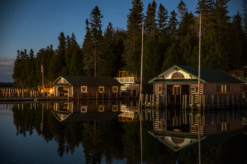 Night Boathouse Reflections