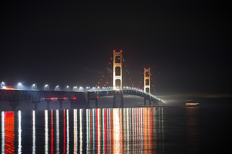 Mackinac Bridge Reflections with Freighter