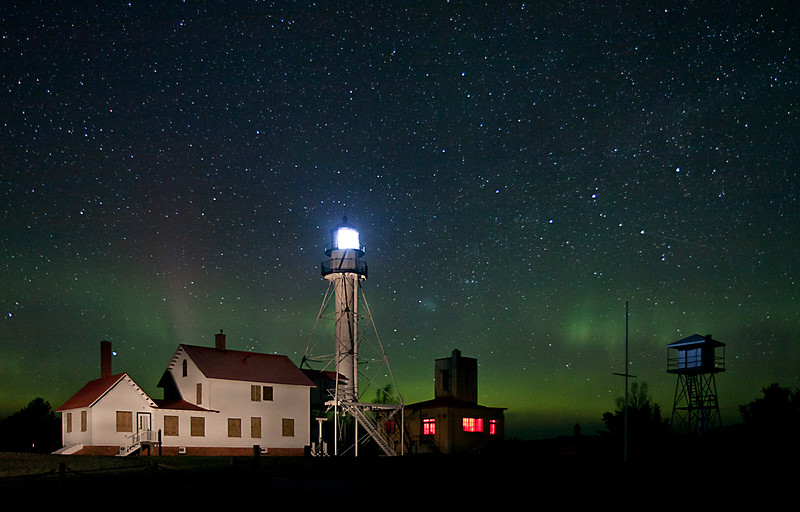Whitefish Point Lighthouse aurora II