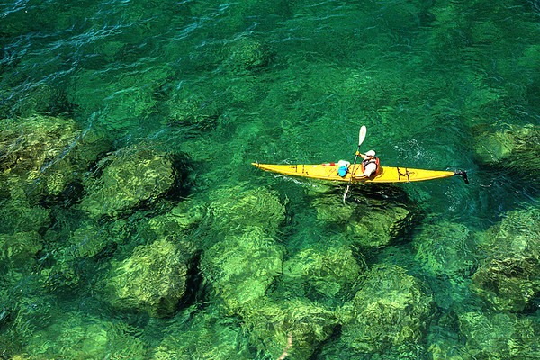 Yellow Kayak in the Shallows