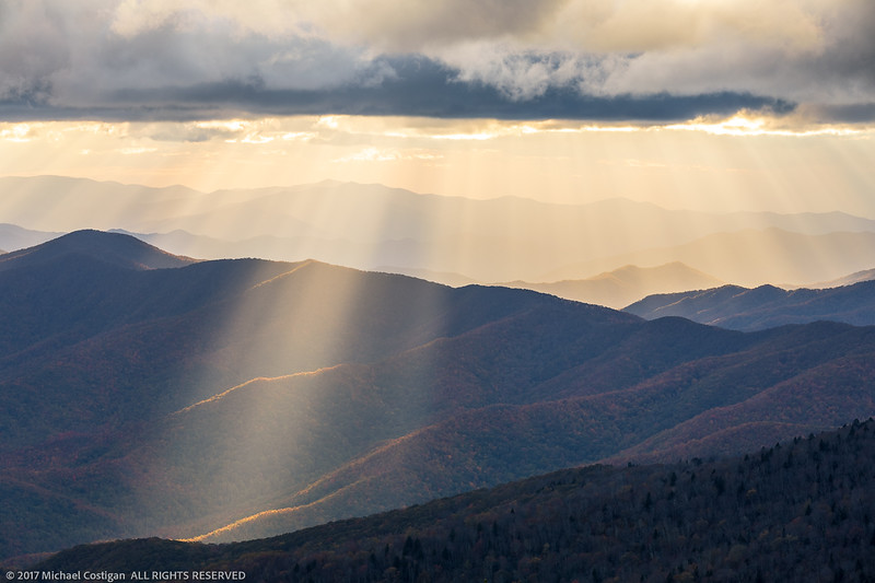 God's Rays at Sunset from Clingman's Dome