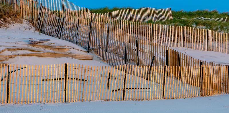 Snowfence at Sunset