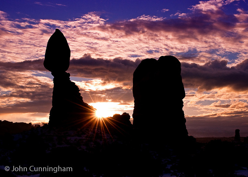 Balanced Rock Sunstar - Arches National Park, Utah - John Cunningham - January 2009