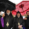 Archbishop Oshagan Choloyan and Archbishop Khajag Barsamian, Primate of the Eastern Diocese of the Armenian Church of America, with clergy.