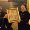 Archbishop Khajag Barsamian, Primate of the Eastern Diocese of the Armenian Church of America, presents an icon to Archbishop Mor Dionysius Jean Kawak, the Patriarchal Vicar of the Syriac Orthodox Archdiocese of the Eastern United States.