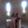 Bp. Hovnan, the Grand Sacristan of Holy Etchmiadzin, and Abp. Khajag sing hymns during the consecration of the reliquary.