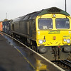 66571 sits in the sun after the heavy shower with 4O54 Leeds - Southampton