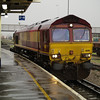 66116 passes in a heavy shower on 4O53 Wakefield - Southampton