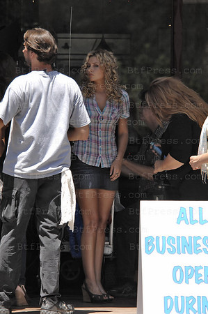 "Emma Stone (L) and Alyson Michalka (R) during the movie  set of ""Easy A "" in Ojai, California. (Photo by Michel Boutefeu)"
