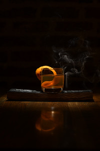 laws stave smoked old fashioned--laws whisky barrel stave smoked glass, laws 4 grain bourbon, angostura bitters, simple syrup