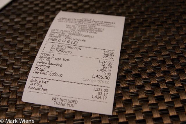 Our total bill