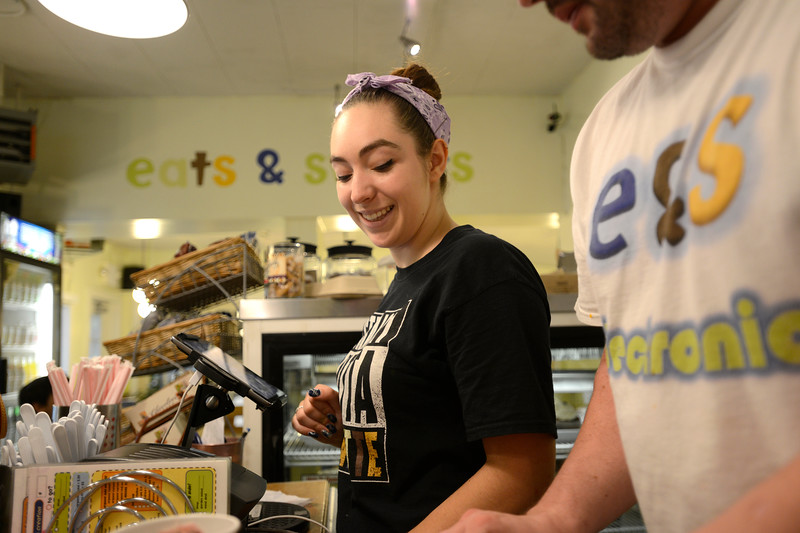 "Sara Crook, of Eats & Sweets in Lafayette takes food orders on Monday morning. For more photos go to  <a href=""http://www.dailycamera.com"">http://www.dailycamera.com</a><br /> <br /> Devi Chung For The Camera. June 13, 2016"