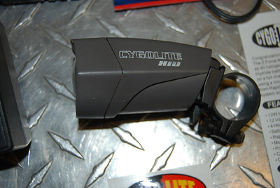 cygolite HID bicycle headlight - complete, little use, battery still holds full charge. bar mount, helmet mount, charger, manual, extra length extension cables, VERY Bright light, cars always whine about it on the roadways $125