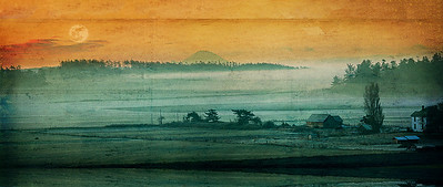 Rainier Dawn Dream: an artist's interpretation of the view across Ebey's Prairie in Ebey's Landing National HIstorical Reserve.