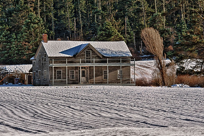 Ferry House in Snow: January 2012, after restoration of original porch design.
