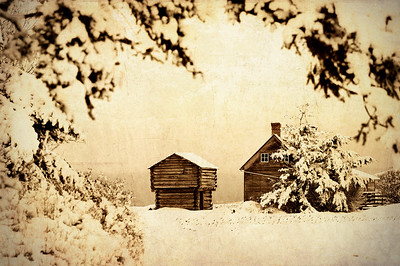 Jacob Ebey House in Snow: and blockhouse. The Ebey House is now the interpretive center for Ebey's Landing National Historical Reserve.