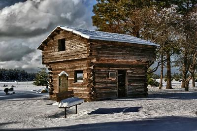 Davis Blockhouse in Snow: at Sunnyside Cemetery.