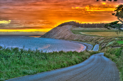 The Road to Ebey's Landing: a.k.a., Hill Road, in Ebey's Landing National Historic Reserve at sunset.