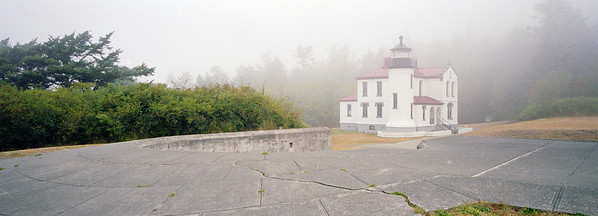Light Fog: Admiralty Head Lighthouse at Fort Ebey State Park on Whidbey Island, Washington.