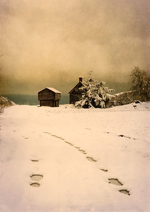 Road to Jacob Ebey House: the Jacob Ebey House and blockhouse in the snow.