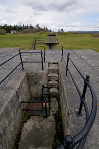 Fort Casey Steps: a view of a spotting tower at the gun emplacements of Fort Ebey State Park.