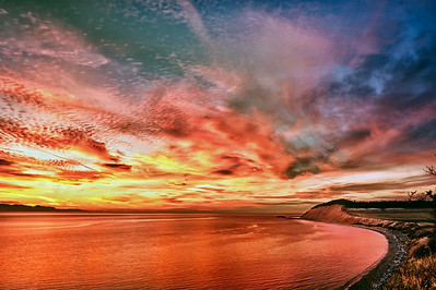 Another Ebey's Sunset: at Ebey's Landing National Historical Reserve and Admiralty Inlet.