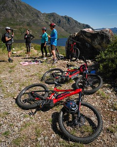 Out riding in the Franschhoek mountains with Franschhoek eBiking. We stopped for a picnic - nice touch guys.