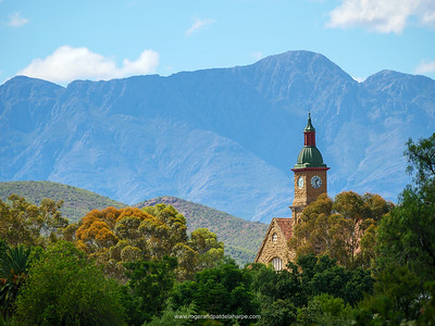 The Calitzdorp's Dutch Reformed Church with Swartberg Mountains in the background.
