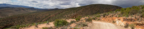 eBiking (mountain biking) on Rooiberg Pass between Calitzdorp and Vanwyksdorp. Western Cape. South Africa