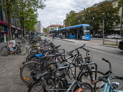 Bicycles and tram at  Moosach. Munich. Bavaria. Germany