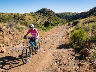 Joy tackles the less than smooth conditions on the climb out of the valley on the final day.