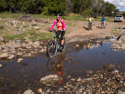 Debbie leads the way across the river near Letskraal