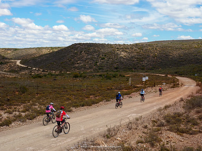 We imagined that once we'd cracked Rooiberg, the descent into Van Wyksdorp, our overnight stop, would be pretty much downhill. Not so! Not so at all - there were a few serious climbs to tackle.