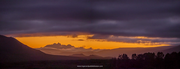 Towerkop (2189m) and  the Klein Swartberg range of mountains at dawn from the Anysberg Campsite.
