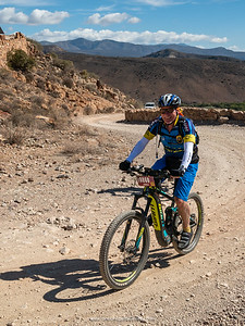 Dave on Rooiberg Pass, seemingly very chuffed to be out on his bike in the Karoo.