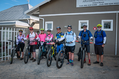 The calm before the storm - all rearing to go at the start of the Giant Little Karoo Trek From left: Sue, Tony, Pat, Joy, Dave, Sharon, Bruce and Roger.