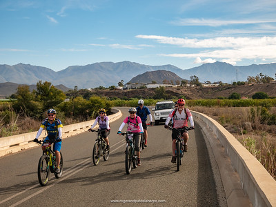 We head out of Calitzdorp on tar (that wouldn't last long...) with the glorious Swartberg Mountains in the background.