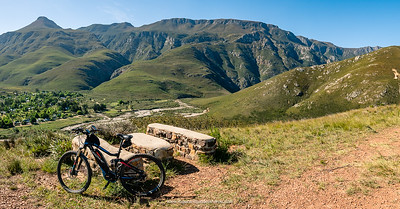 "The first ""Bench""  on the Bench to Bench ride, overlooking Greyton and the Riviersonderend Mountains."