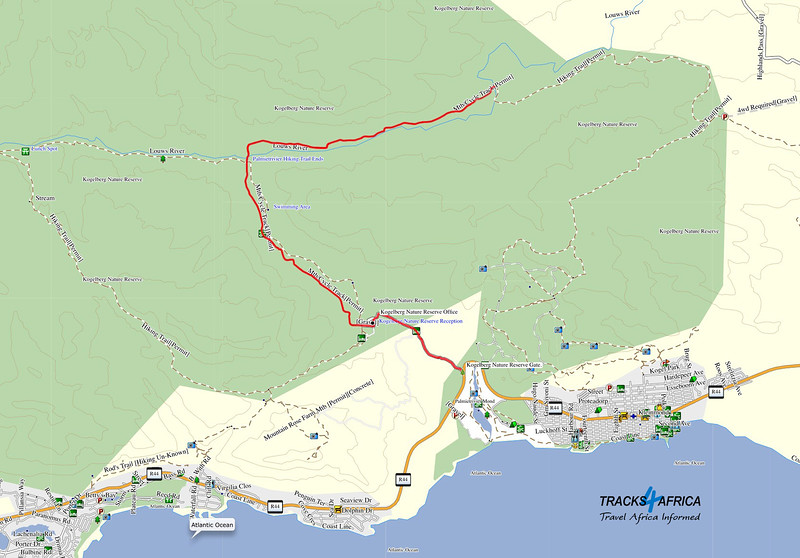 The Kogelberg  Mountain Bike Route in red. Map, courtesy of Tracks4Africa