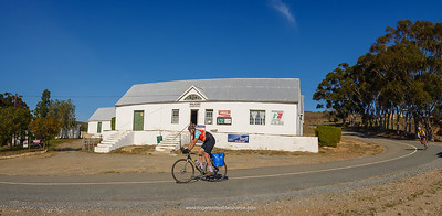 Cyclists at the Malgas General Dealer (Store) Malgas (Malagas). Western Cape. South Africa