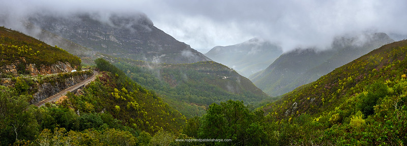 View of the Outeniqua Mountains showing the Montagu Pass and the railway line.