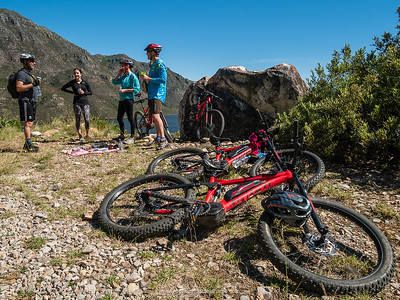 The ebikes, tired after some pretty steep climbs, having a rest while we munch delicious snacks.