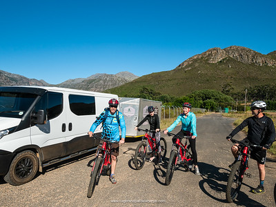 The custom built mini bus and trailer make transporting guests and bikes very slick.