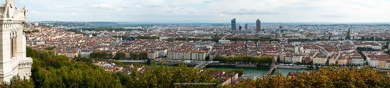 The view from the La Basilique Notre Dame de Fourvière. Lyon. France