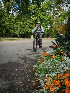 Pat riding through Parc Mon Repos. Geneva. Switzerland
