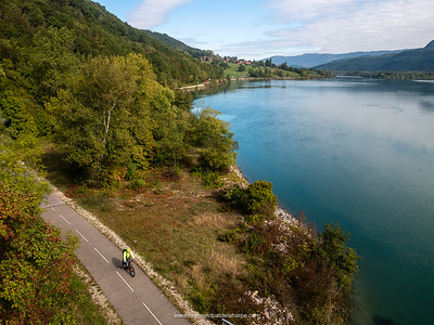 The Rhone River and Roger on the cycle path or  ViaRhôna near Belley. France