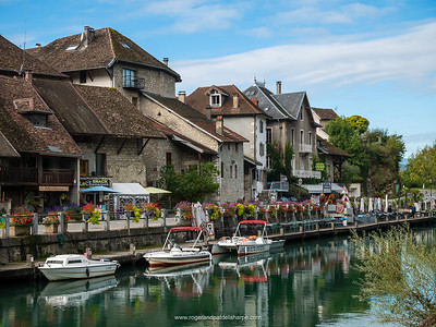 The village of Chanaz on the banks of the Rhone River. France.